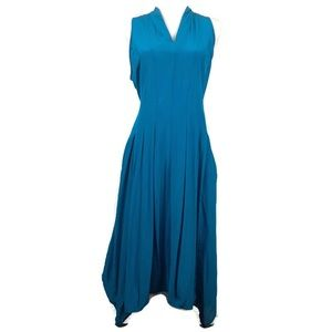 Eileen Fisher Jewel Blue Silk Georgette Dress SZ M